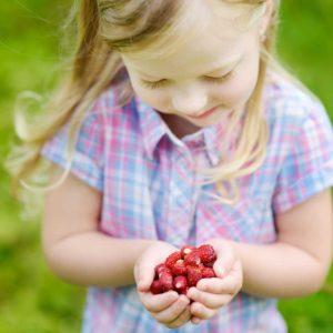 Fillette et fraises des bois